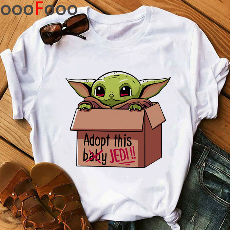 Kawaii Baby Yoda Funny Cartoon T Shirt Women Ullzang Bebe Yoda T-shirt The Mandalorian Cool Tshirt 90s Graphic Top Tees Female