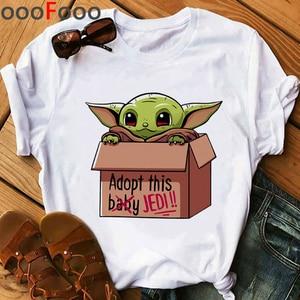 Kawaii Baby Yoda Funny Cartoon T Shirt Women Ullzang Bebe Yoda T-shirt The Mandalorian Cool Tshirt 90s Graphic Top Tees Female(China)