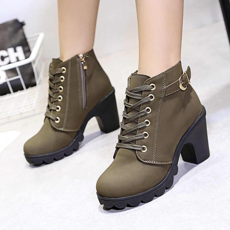 Yüksek topuk yarım çizmeler kadın kışlık botlar deri ayakkabı kadın patik ayakkabı sonbahar Bota kare topuk 2019
