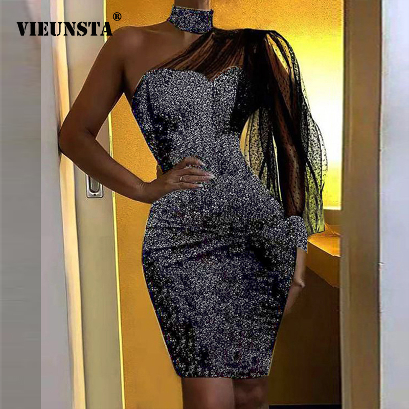 Women Sequin Dress Elegant Off Shoulder Puff Sleeve Mesh Party Dress 2020 Spring Halter Glitter Shiny Bodycon Mini Dress Vestido