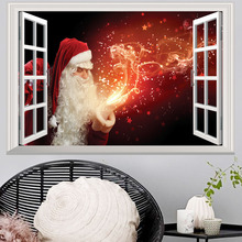Christmas Fake Window 3d Wall Sticker Creative Home Decoration Stereo for Kids Rooms Santa Claus