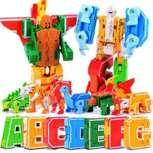 Image 2 - 26 Engels Letters Transformeren/Vervorming In Dinosaurussen/Dieren 8 Robots Creatieve Actiefiguren Bouwsteen Speelgoed Kinderen Geschenken