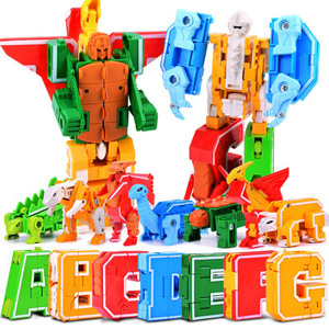 Image 2 - 26 English Letters Transform/deformation into dinosaurs/Animals 8 robots Creative Action Figures Building Block toy Kids gifts