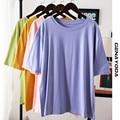 Genayooa 100% хлопковая футболка для женщин топы 2021 летние однотонные Размеры d футболка размера плюс свободная футболка женская футболка в Корей...