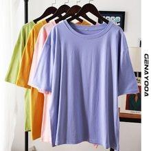 Genayooa T-shirt in cotone 100% top da donna 2021 T-shirt oversize tinta unita estiva T-shirt allentata taglie forti Femme Harajuku coreano
