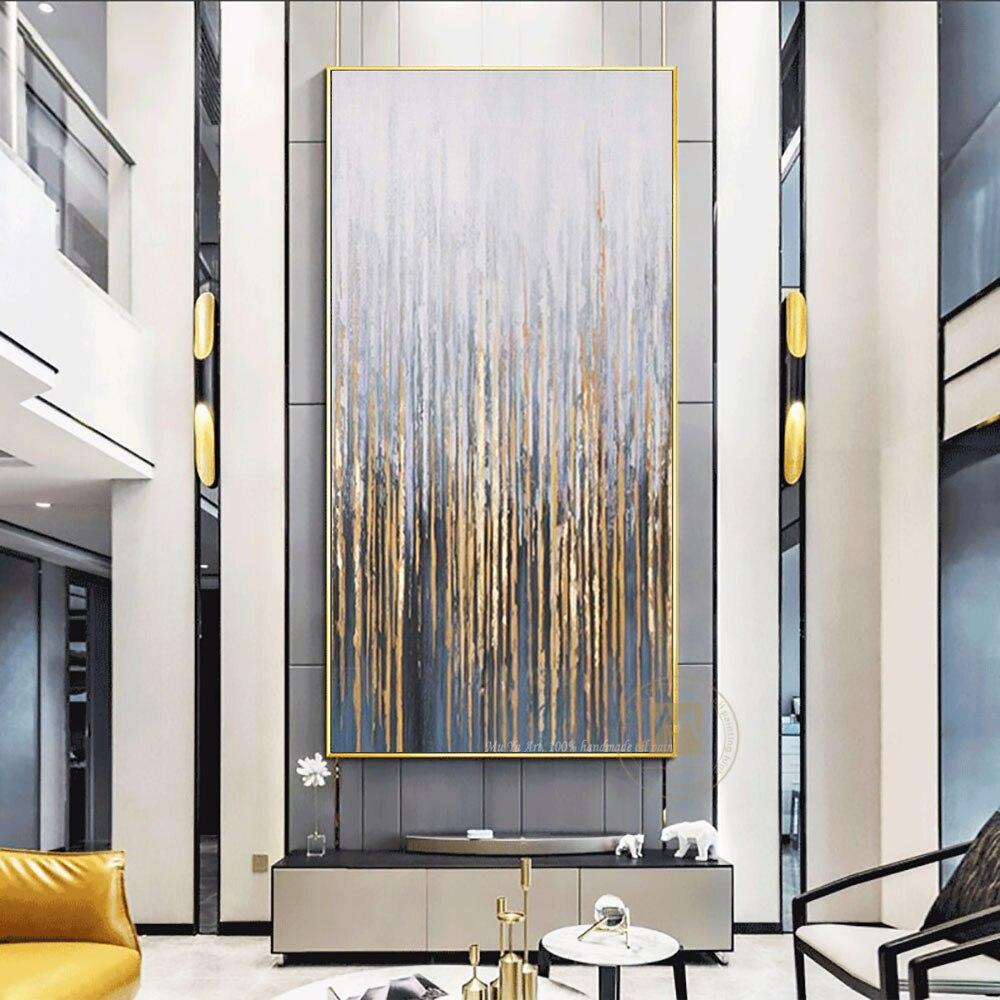 Grande pintura de parede sobre tela a óleo artesanal vertical arte abstrata quadros decorativos para sala estar decoração da parede pintura dourada