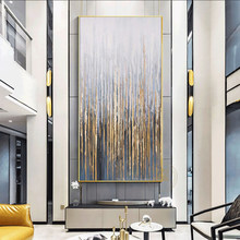 Large Wall Painting On Canvas Handmade Oil Vertical Abstract Art Decorative Pictures For Living Room Wall Decor Painting Golden