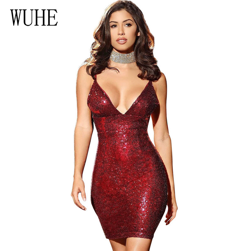 WUHE Women Sexy Bodycon <font><b>Open</b></font> <font><b>Back</b></font> <font><b>Dress</b></font> Sleeveless V Neck Spaghetti Strap Sequined Short Mini <font><b>Dress</b></font> Womens Club <font><b>Dresses</b></font> Vestidos image