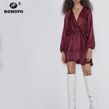 ROHOPO Long Sleeve Ruffled Draped Claret Tunic Solid Dress Autumn Ladies Elegant Soft Vintage Vestido #9575
