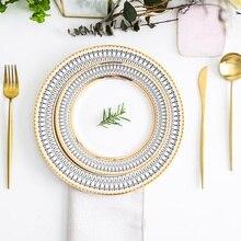 אירופאי זכוכית פרל זהב שיבוץ מנות סטייק צלחת סלט מנות חתונה מסיבת אירוע קישוט כלי שולחן מתנה