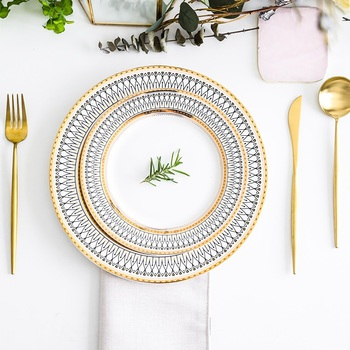 Szkło europejskie perłowe złote wkładki naczynia patelnia do steków naczynia sałatkowe wesele dekoracje na imprezy okolicznościowe zastawa stołowa prezent tanie i dobre opinie Perilune ROUND ceramic Stałe