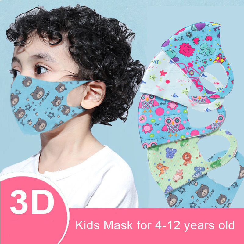 5pcs 3D 3-12 Years Washable Mask Cartoon Printed Resusable Anti Pollution Mask Kid Face Breathable Masks Filter Mouth Cover