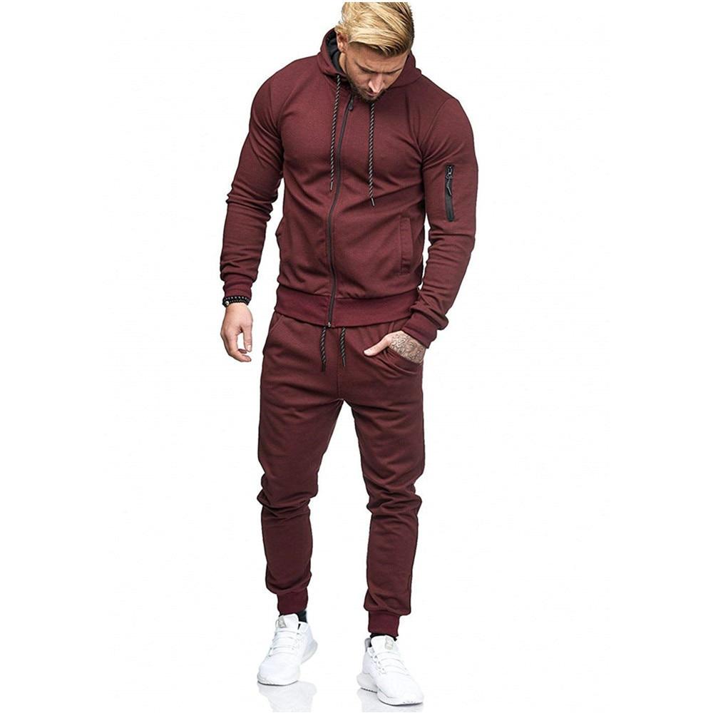 2020 Jogger Set Spring Autumn Winter New Men's Sports Suit Arm Zipper Decoration Fitness Casual Wear Sweatsuit Men Track Suit