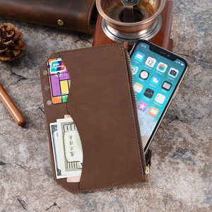 Image 1 - Genuine Leather Zipper Bag For Personal Rings Notebook 6 Hole Card Pocker Storage 17 x 11cm For Planner Organizer Sketchbook