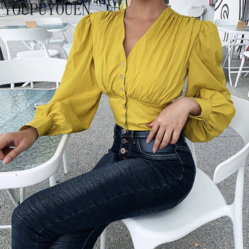 Women Lantern Long Sleeve Blouse Crop Top V-neck Casual Party Elegant Shirt Woman Fashion Clothes Summer Yellow Short Blouses 6