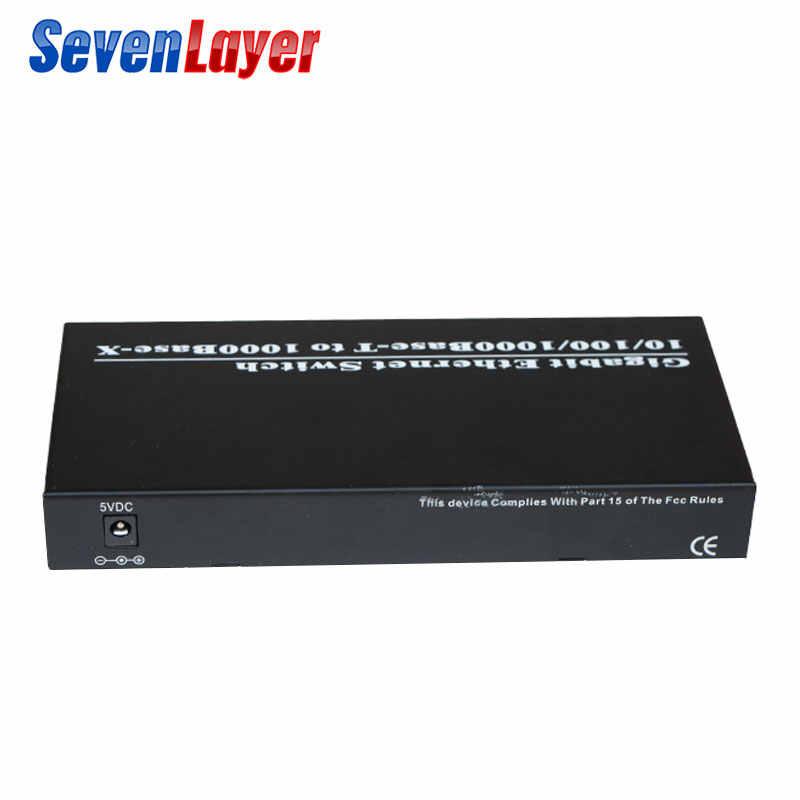 10/100/1000M 8 RJ45 UTP e 2 Sfp In Fibra di Porta in fibra Ottica Media Converter Gigabit Ethernet interruttore di spedizione 2 pezzi