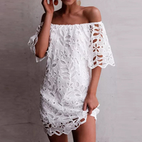 ZANZEA Fashion Women Off Shoulder Lace Crochet Dress Summer Short Sleeve Hollow Out Party White Sundress Sexy Boat Neck Vestido