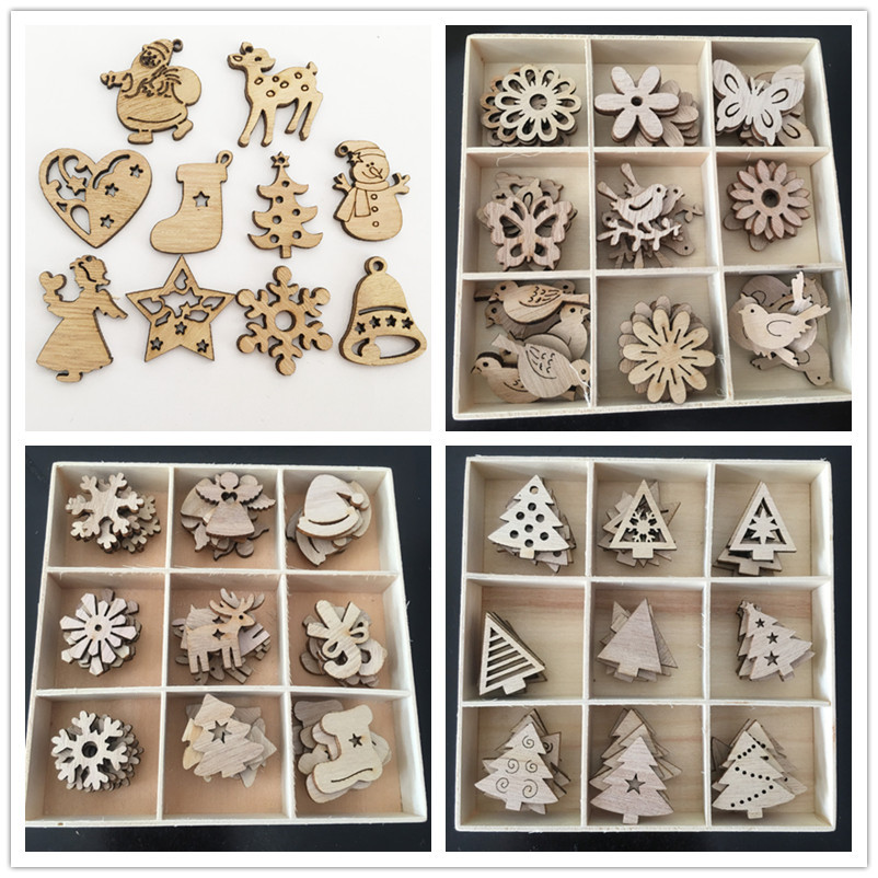 50Pcs/lot DIY Wood Chips Christmas Ornaments Tree Reindeer Snowflake Snowman Wooden Craft Handmade Scrapbooking Decor Supplies