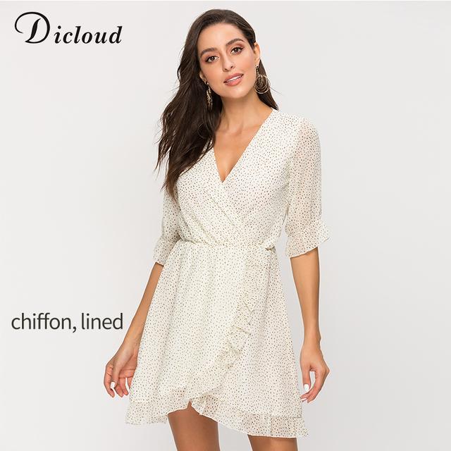 DICLOUD Short Women Dress Ruffle Print Polka Dot Sexy Beach Wrap Dress Vintage Half Sleeve Summer Party Mini Dresses Vestidos