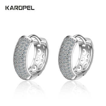 Zircon Charm silver Earrings For Women pendientes oorbellen Fashion 925 Sterling Silver Dazzling CZ Mosaic