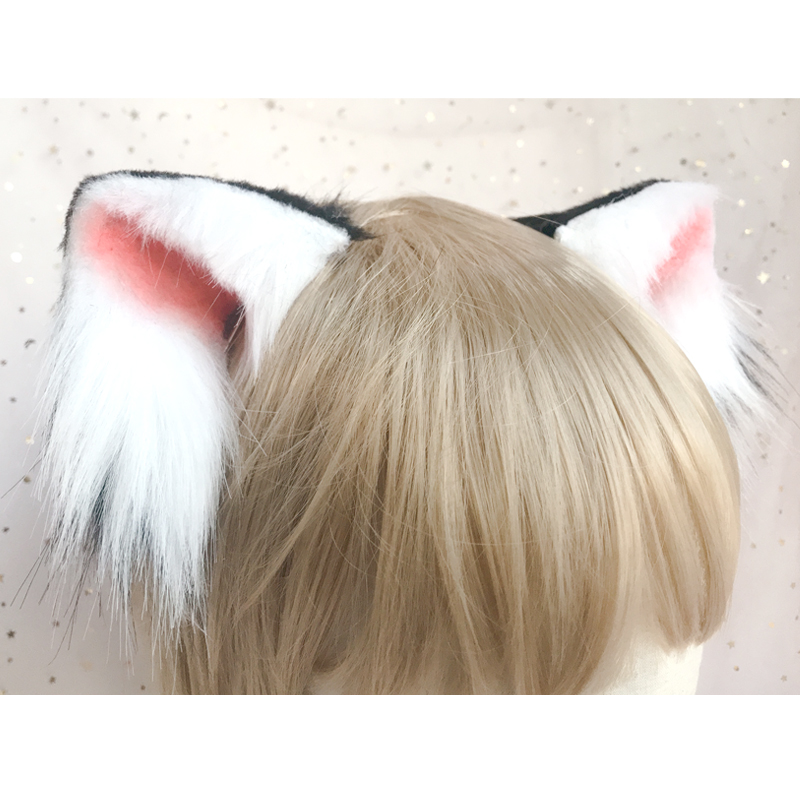 Lilicochan Hand Made With Animal Ears Hair Hoop Cosplay Cat Lolita Headwear Cute Soft Girl Plush Head Clips Anime Neko Role Play
