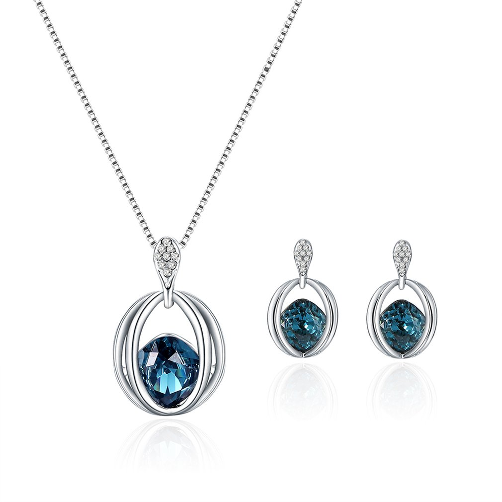 Birthday gift crystal jewelry set necklace + earrings