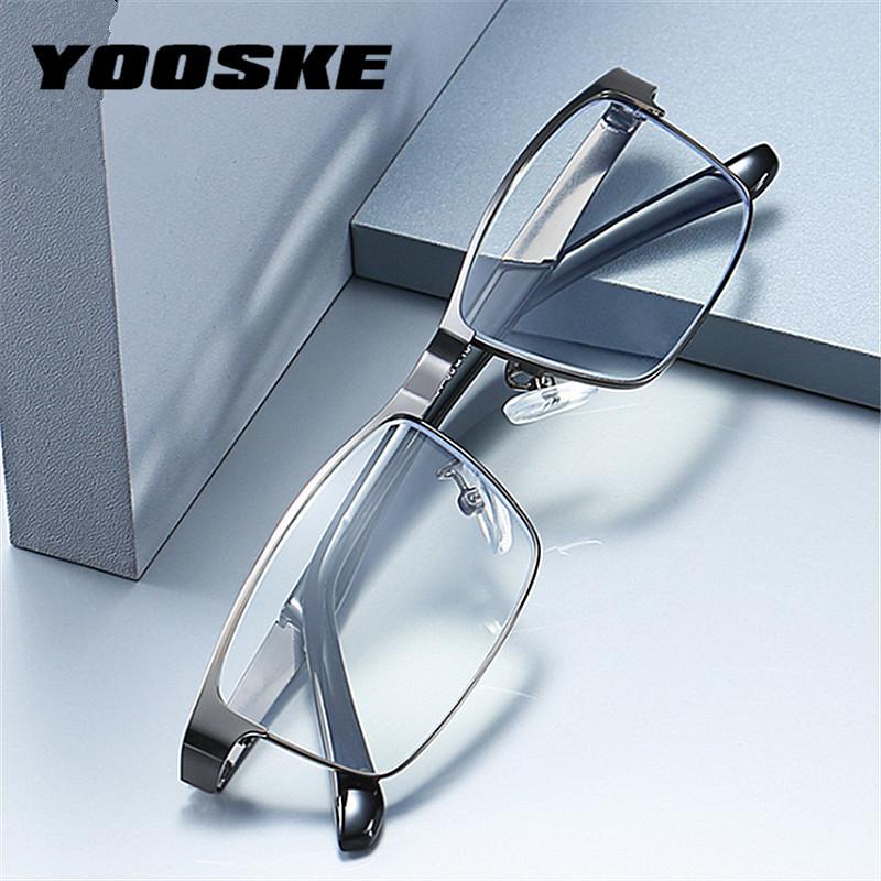 YOOSKE Stainless Steel Men Business Reading Glasses for Reader Mens Presbyopic optical Glasses +1.0 1.5 2.0 2.5 3 3.5 4.0