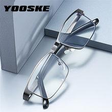 YOOSKE-gafas de lectura de acero inoxidable para hombre, lentes ópticas para leer, de negocios, para presbicia + 1,0 1,5 2,0 2,5 3 3,5 4,0