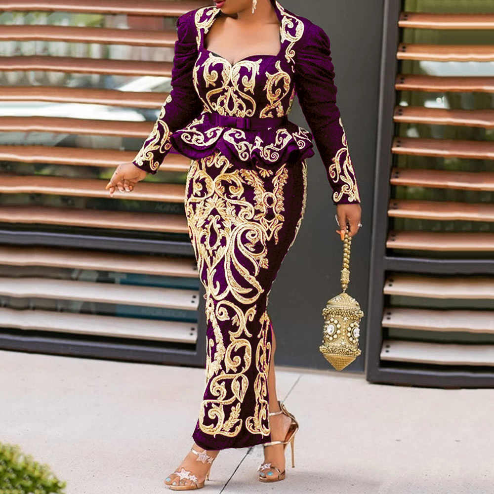 Đầm Vintage Đen In Hoa Trang Phục Dạ Hội Dài Tay 2020 Thanh Lịch Plus Kích Thước Bodycon Đầm Maxi Đầm Peplum Xù Đầm Retro