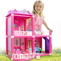Bambino FAI DA TE Giocattoli Casa di Bambola Rosa Montare Principessa Villa Handmade Costruzione di Casa Mobili In Miniatura Casa Delle Bambole Per Il Regalo Dei Bambini