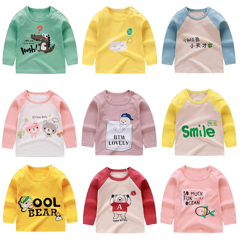 Double Star Season Children's Long-sleeved Pure Cotton Infant Cartoon  Coat Autumn Coat Boys And Girls T-shirt Baby Base Shirt