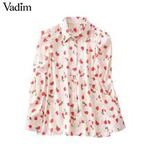 Vadim ผู้หญิงหวานดอกไม้พิมพ์เสื้อแขนยาวเปิดลงปลอกคอเสื้อ causal หญิงน่ารักแฟชั่น tops blusas LB357