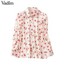 Vadim النساء الحلو الأزهار طباعة بلوزة طويلة الأكمام رفض colllar قميص الإناث السببية لطيف بلوزات على الموضة blusas LB357