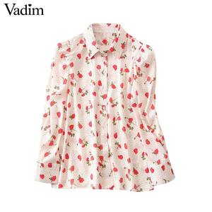 Image 1 - Vadim women sweet floral print blouse long sleeve turn down colllar shirt female causal cute fashion tops blusas LB357