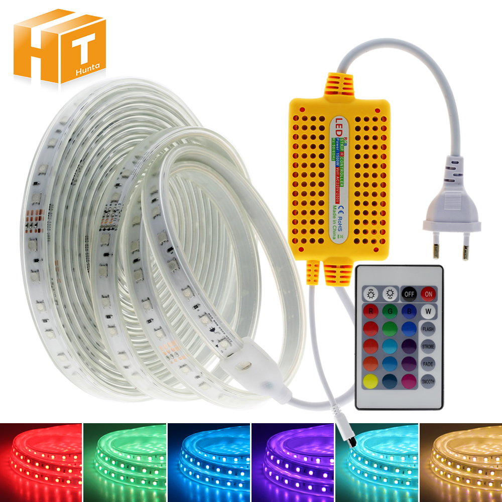 220V RGB LED Strip Waterproof RGB Tape Flexible LED Light Strip+24Key Remote Controller LED Street Light For Home Garden Fence