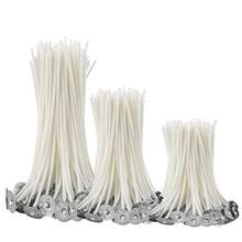 100 unids/bolsa de algodón puro núcleo velas mechas 9/15/20cm DIY fabricación de velas Pre-encerado con aceite mechas suministros para fiesta en casa Dropshipping. Exclusivo.