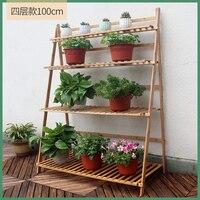 Vaso de flor rack de bambu de madeira maciça multi-camada espaço varanda interior sala estar verde loll prateleira flor