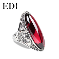 EDI 10*30mm Red Garnet Bijouterie Rings Blue Pink Boule Rings Retro 925 Silver Big Exaggerated Female Large Rings Indian Jewelry
