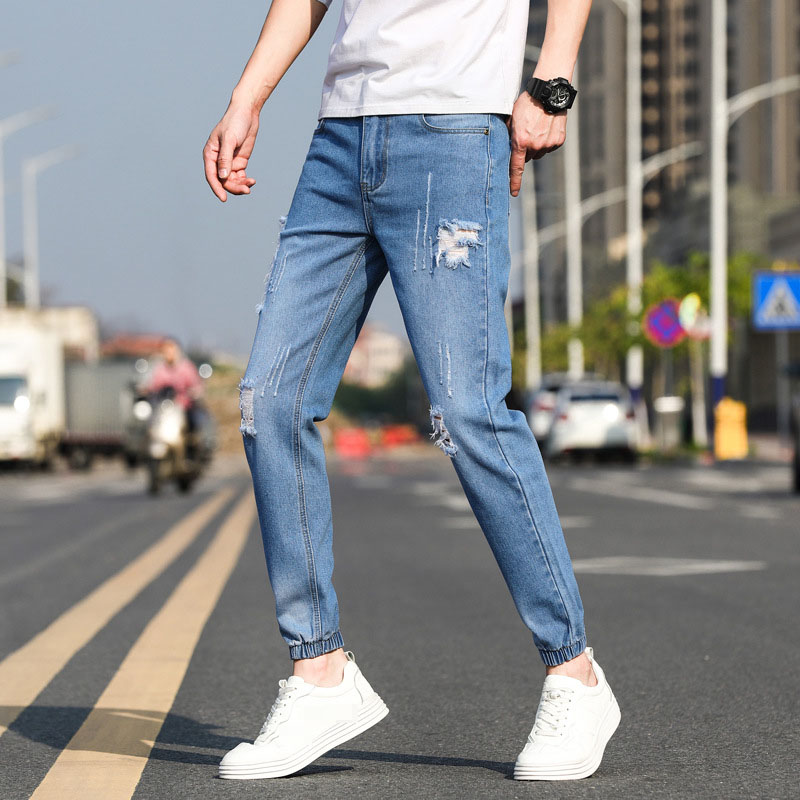 Casual Cotton Ankle Length Solid Denim Ripped Pants Pockets Cropped Jeans Classical ZIpper Fashion