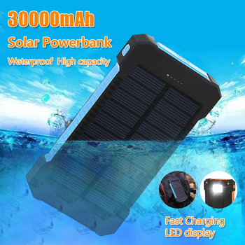 Solar Power Bank 30000mAh Waterproof Solar Charger Dual USB External Charger Powerbank for smart phone 1