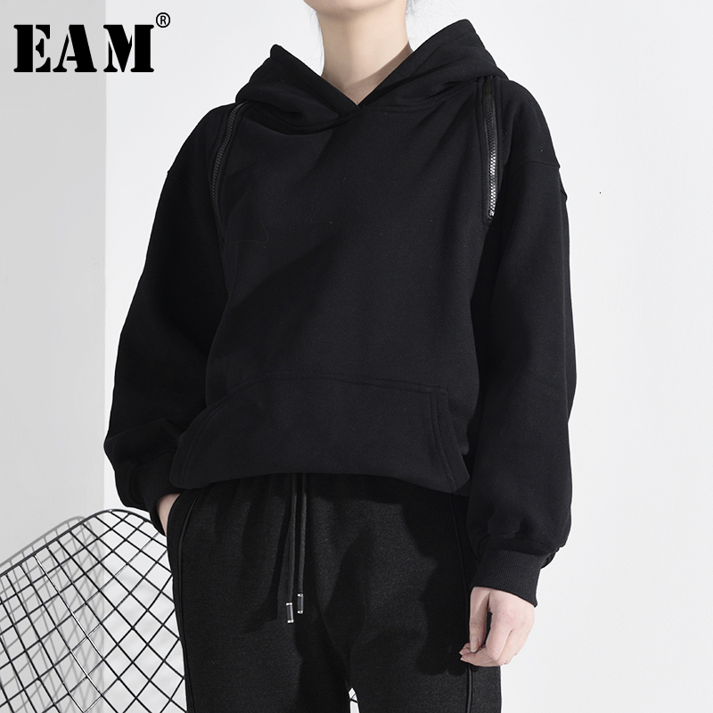 [EAM] Loose Fit Black Zipper Off Shoulder Sweatshirt New Hooded Long Sleeve Women Big Size Fashion Tide Spring 2020 A276