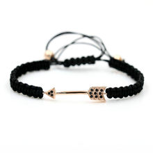Arrow Bracelets For Women Micro Pave Cubic Zirconia Black Rope String Braiding Macrame Adjustable Men Charm Bracelets Jewelry(China)