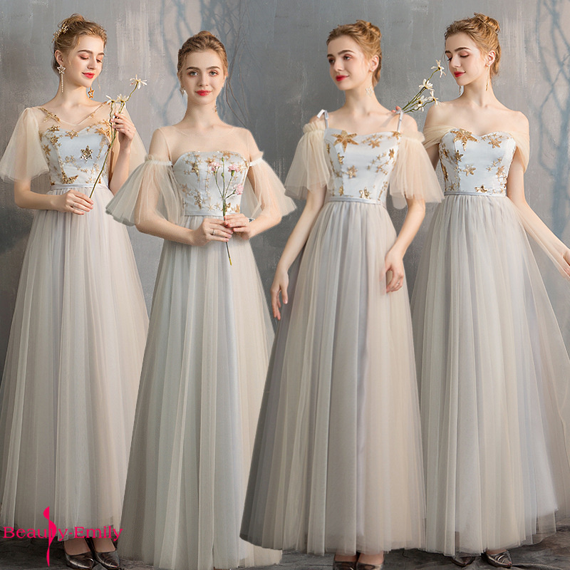 Beauty Emily Sequins Appliques Ruffles O Neck Long Bridesmaid Dresses Pleated Tulle Strapless Lace Up Open Back Wedding Dress