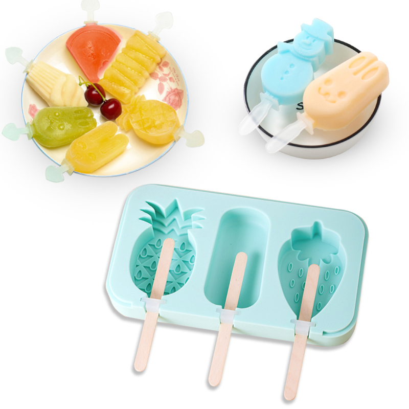 Silicone Ice Cream Mold With Cover Animals Shape Jelly Form Maker For Ice Lolly DIY Moulds Summer Essentials