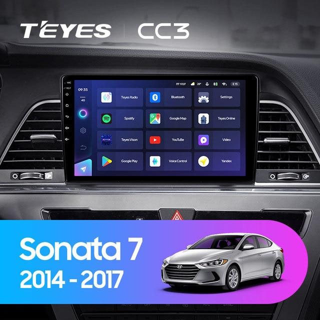 TEYES CC3 Штатная магнитола For Хендай Соната 7 LF For Hyundai Sonata 7 LF 2014 - 2017 до 8-ЯДЕР, до 6 + 128ГБ 27EQ + DSP carplay автомагнитола 2 DIN DVD GPS android 10 мультимедиа автомобиля головное устройство 2