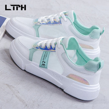 2020 Autumn Summer New high quality women shoes trend mesh Hit color splice breathable thick bottom Casual Wild Lace-Up sneakers europe america new mesh breathable sneakers women s solid color round head shallow mouth casual thick bottom laceup single shoes