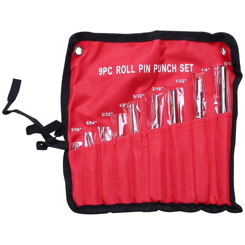 9Pcs Steel Multi Size Round Head Pins Punch Set Grip Roll Pins Punch Tool Kit Professional Hollow End Starter Punch Chisel