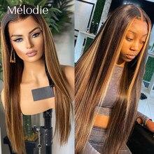 28 30 inç 1b 4 27 vurgulamak Ombre sarışın düz dantel ön İnsan saç tutkalsız peruk siyah kadınlar için 4x4 brezilyalı Remy saç