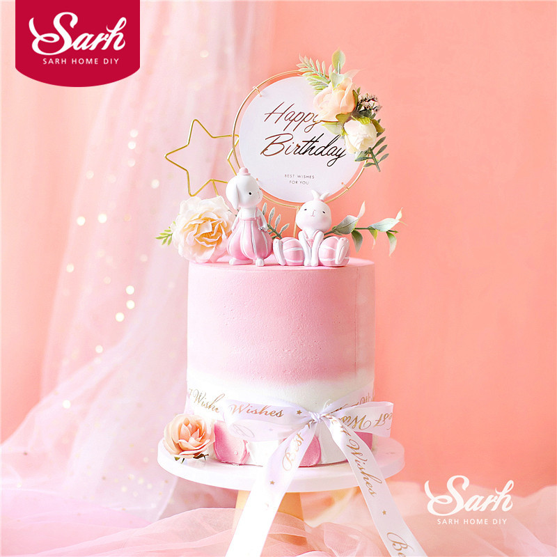Wondrous Pink Iron Artificial Flower Happy Birthday Cake Topper Star Bunny Birthday Cards Printable Riciscafe Filternl