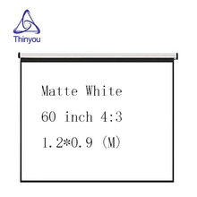 Thinyou 60inch 4:3 matte white manual Curtains and hand projector screen perfect for home cinema school office